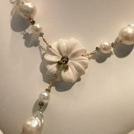 Collana oro con perle fw, perle south sea, tormaline