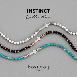 Bracciali INSTINCT COLLECTION in acciaio con croce e pietre naturali